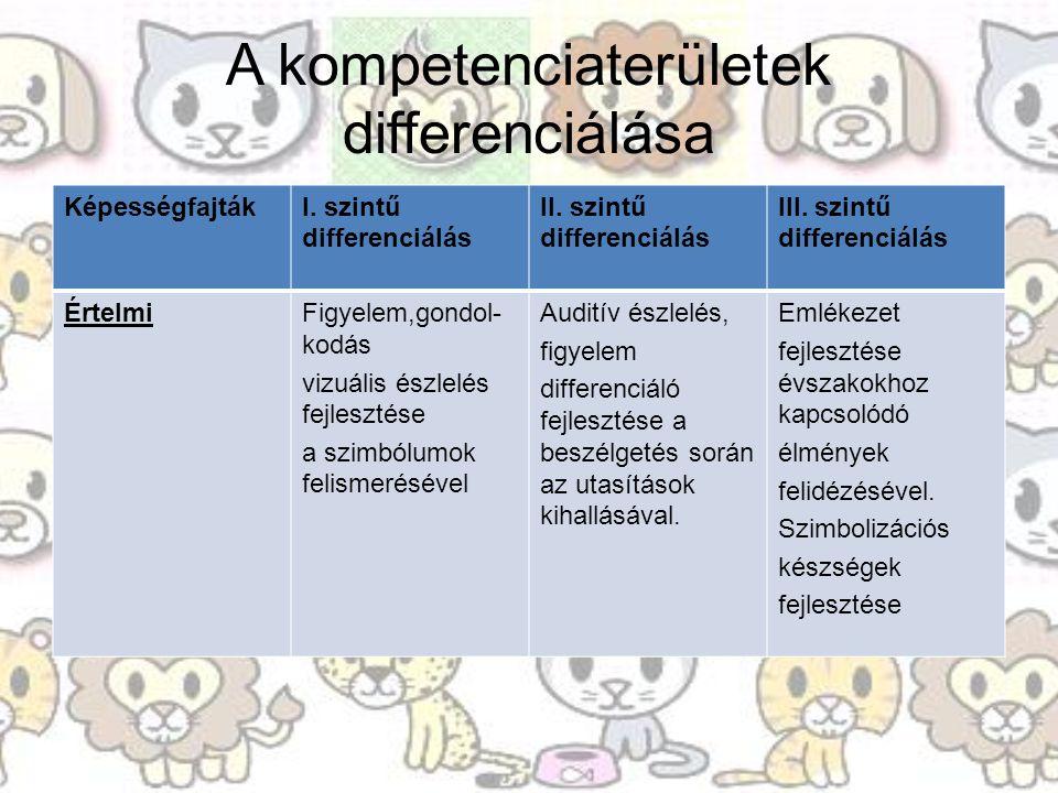 A kompetenciaterületek differenciálása