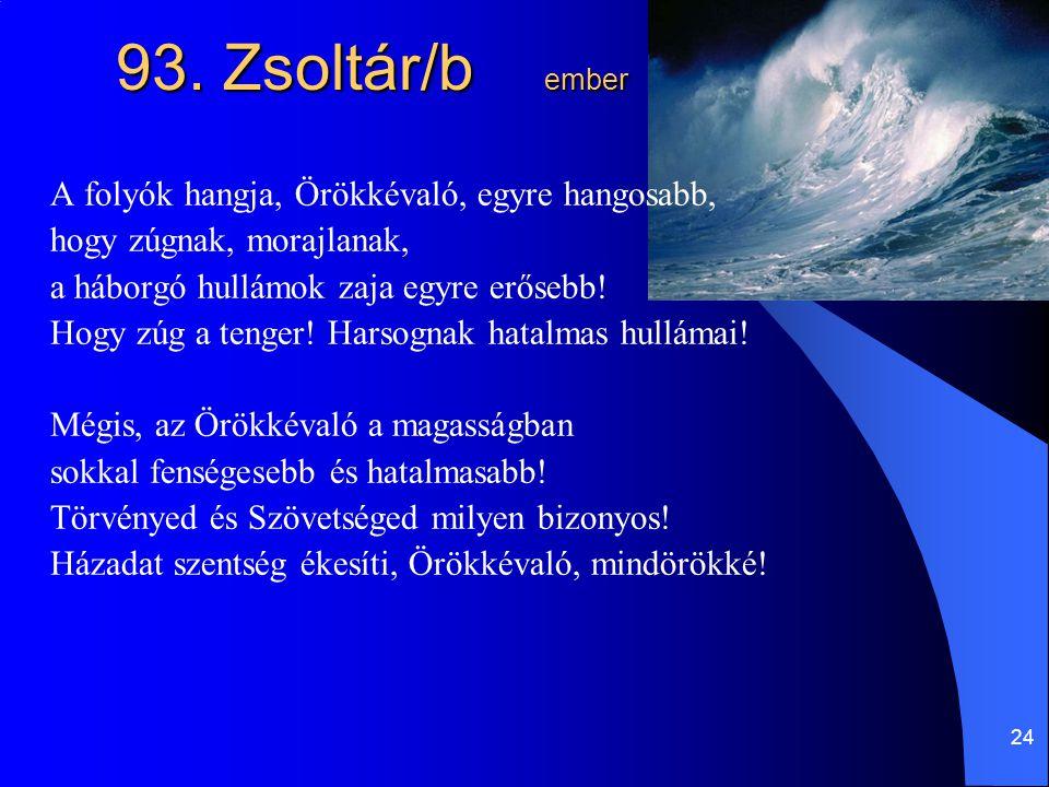 93. Zsoltár/b ember A folyók hangja, Örökkévaló, egyre hangosabb,