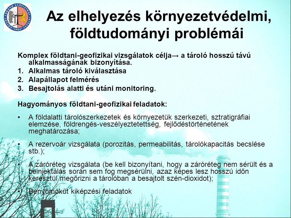 Az elhelyezés környezetvédelmi, földtudományi problémái
