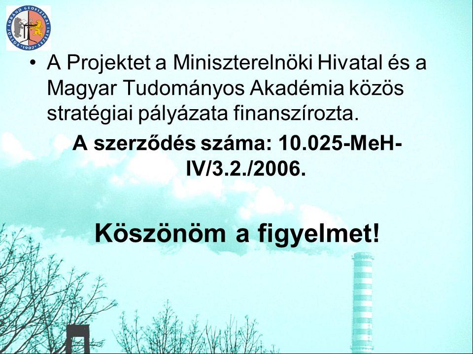 A szerződés száma: 10.025-MeH-IV/3.2./2006.
