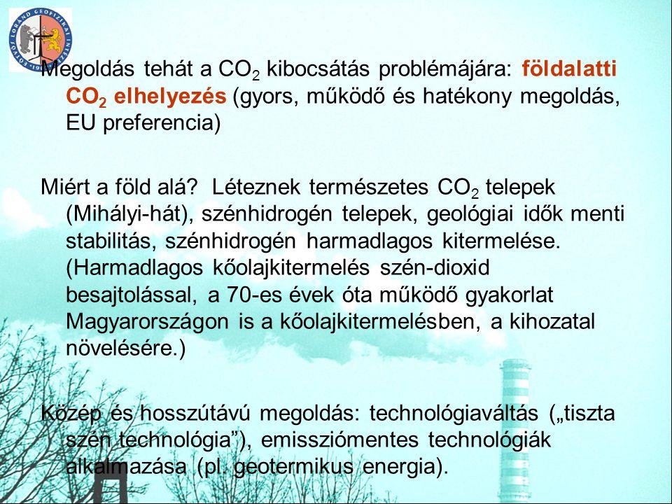 Megoldás tehát a CO2 kibocsátás problémájára: földalatti CO2 elhelyezés (gyors, működő és hatékony megoldás, EU preferencia)