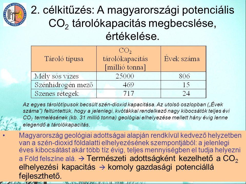 2. célkitűzés: A magyarországi potenciális CO2 tárolókapacitás megbecslése, értékelése.