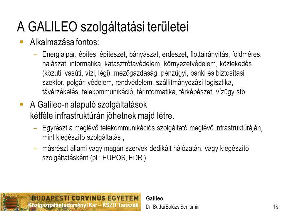 A GALILEO szolgáltatási területei