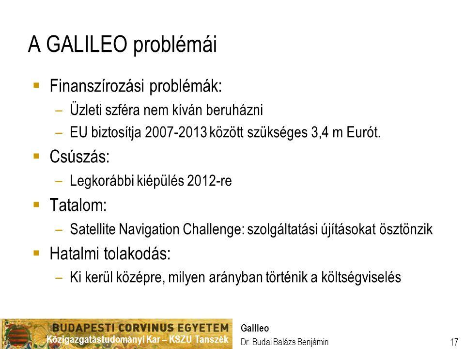 A GALILEO problémái Finanszírozási problémák: Csúszás: Tatalom: