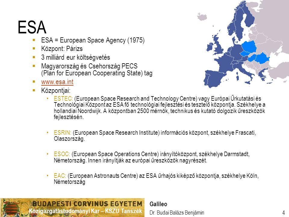 ESA ESA = European Space Agency (1975) Központ: Párizs