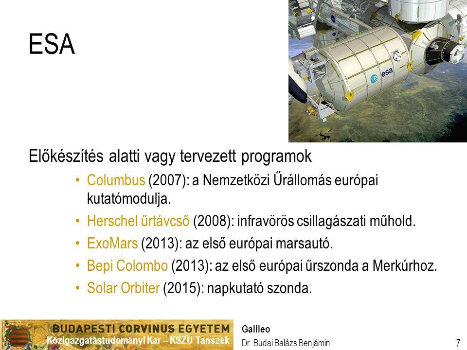 ESA Előkészítés alatti vagy tervezett programok