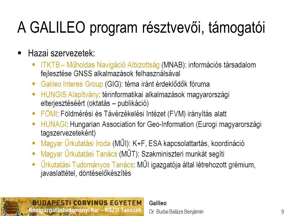 A GALILEO program résztvevői, támogatói