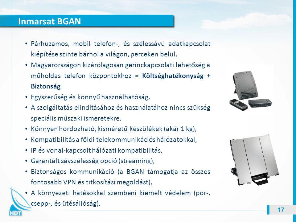 Inmarsat BGAN Párhuzamos, mobil telefon-, és szélessávú adatkapcsolat kiépítése szinte bárhol a világon, perceken belül,