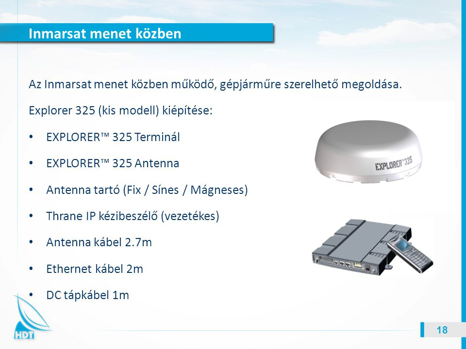 Inmarsat menet közben Az Inmarsat menet közben működő, gépjárműre szerelhető megoldása. Explorer 325 (kis modell) kiépítése: