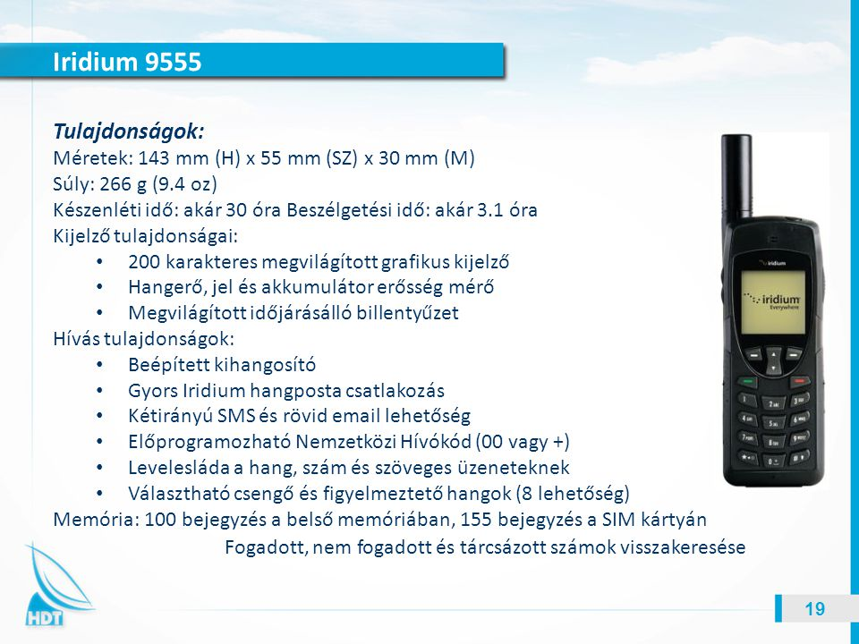 Iridium 9555 Tulajdonságok: