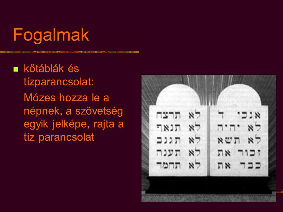 Fogalmak kőtáblák és tízparancsolat: