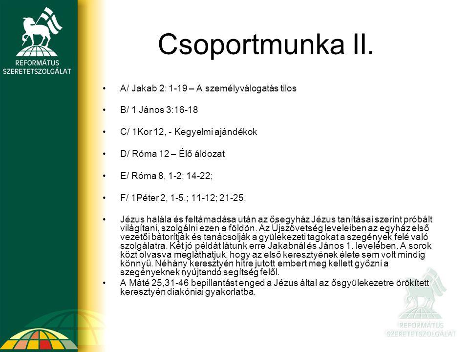Csoportmunka II. A/ Jakab 2: 1-19 – A személyválogatás tilos