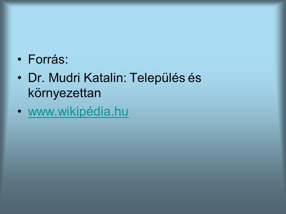 Forrás: Dr. Mudri Katalin: Település és környezettan www.wikipédia.hu