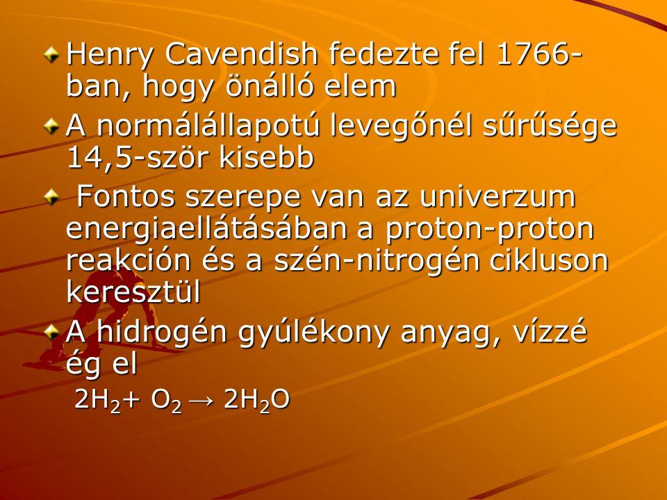 Henry Cavendish fedezte fel 1766-ban, hogy önálló elem