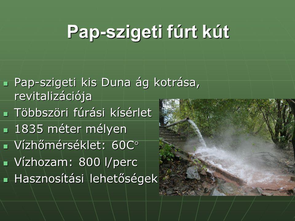 Pap-szigeti fúrt kút Pap-szigeti kis Duna ág kotrása, revitalizációja