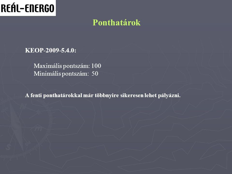 Ponthatárok KEOP-2009-5.4.0: Maximális pontszám: 100