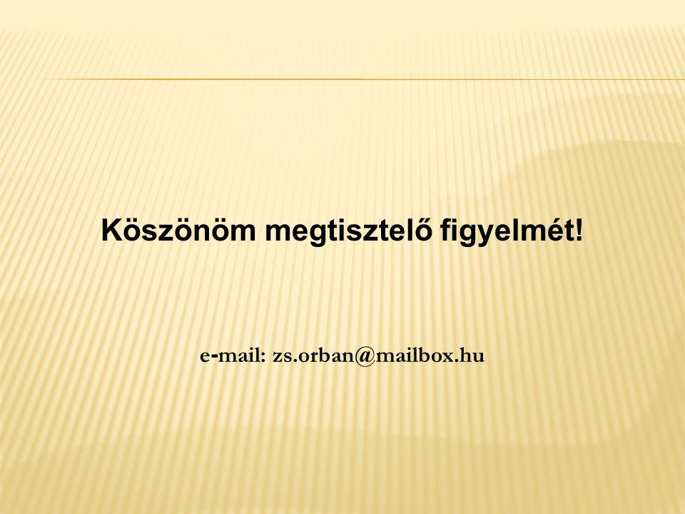 Köszönöm megtisztelő figyelmét! e-mail: zs.orban@mailbox.hu