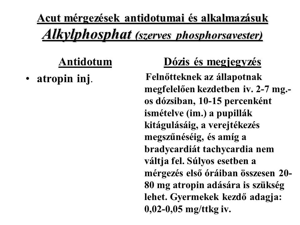 Acut mérgezések antidotumai és alkalmazásuk Alkylphosphat (szerves phosphorsavester)