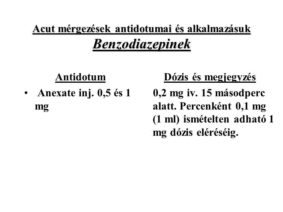 Acut mérgezések antidotumai és alkalmazásuk Benzodiazepinek