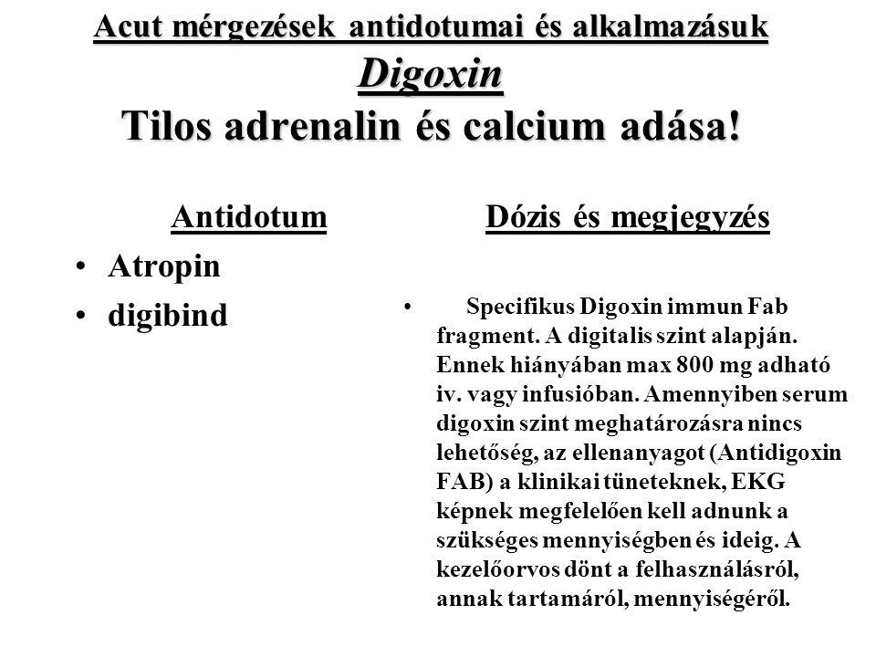 Acut mérgezések antidotumai és alkalmazásuk Digoxin Tilos adrenalin és calcium adása!