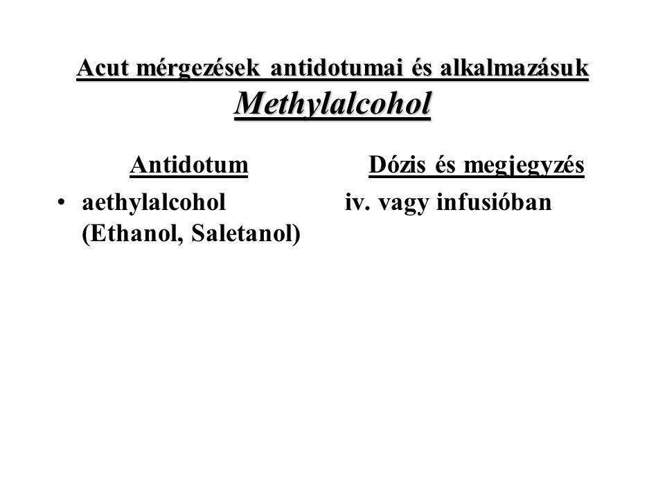 Acut mérgezések antidotumai és alkalmazásuk Methylalcohol