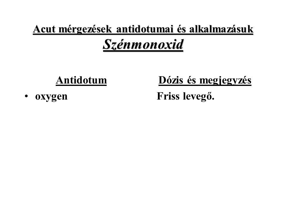 Acut mérgezések antidotumai és alkalmazásuk Szénmonoxid