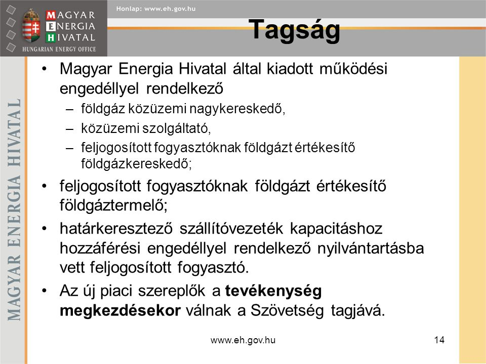 Tagság Magyar Energia Hivatal által kiadott működési engedéllyel rendelkező. földgáz közüzemi nagykereskedő,