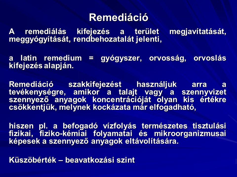 Remediáció A remediálás kifejezés a terület megjavítatását, meggyógyítását, rendbehozatalát jelenti,