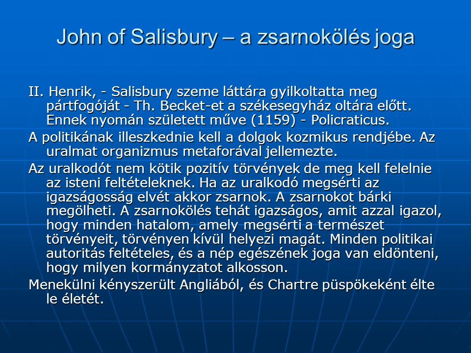 John of Salisbury – a zsarnokölés joga
