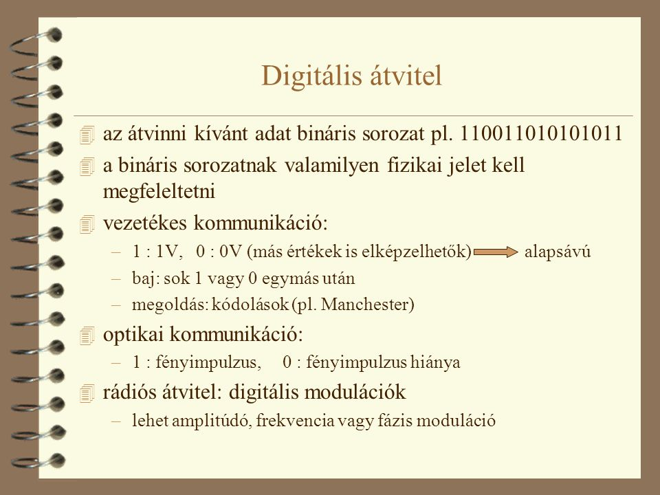 Digitális átvitel az átvinni kívánt adat bináris sorozat pl. 110011010101011. a bináris sorozatnak valamilyen fizikai jelet kell megfeleltetni.