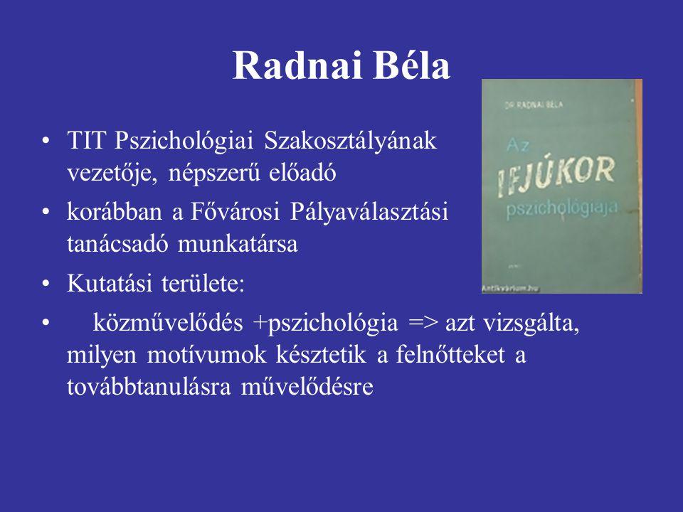 Radnai Béla TIT Pszichológiai Szakosztályának vezetője, népszerű előadó. korábban a Fővárosi Pályaválasztási tanácsadó munkatársa.