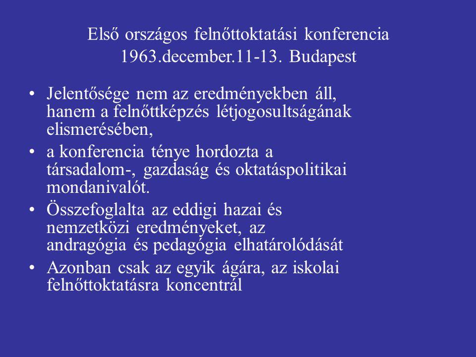 Első országos felnőttoktatási konferencia 1963. december. 11-13