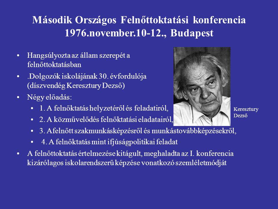 Második Országos Felnőttoktatási konferencia 1976. november. 10-12