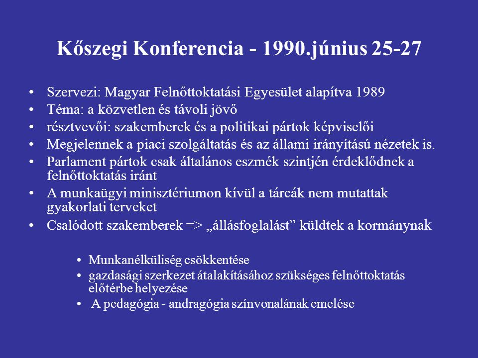 Kőszegi Konferencia - 1990.június 25-27