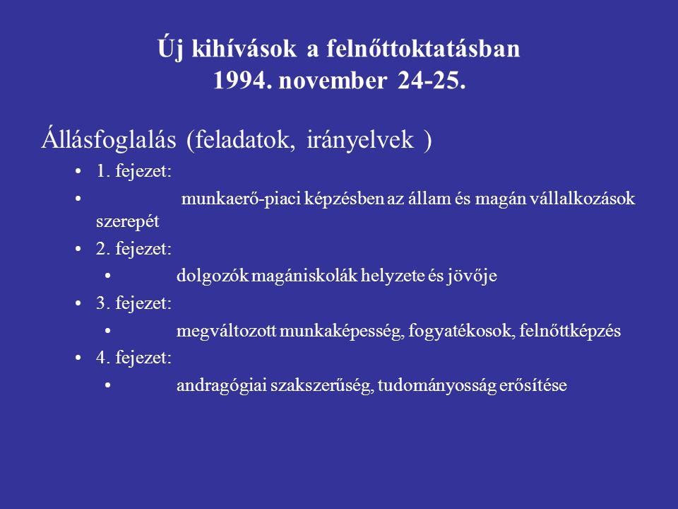 Új kihívások a felnőttoktatásban 1994. november 24-25.