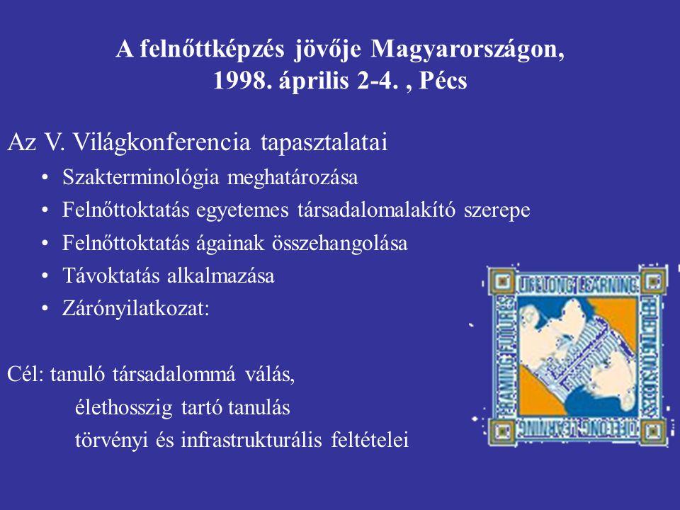 A felnőttképzés jövője Magyarországon, 1998. április 2-4. , Pécs
