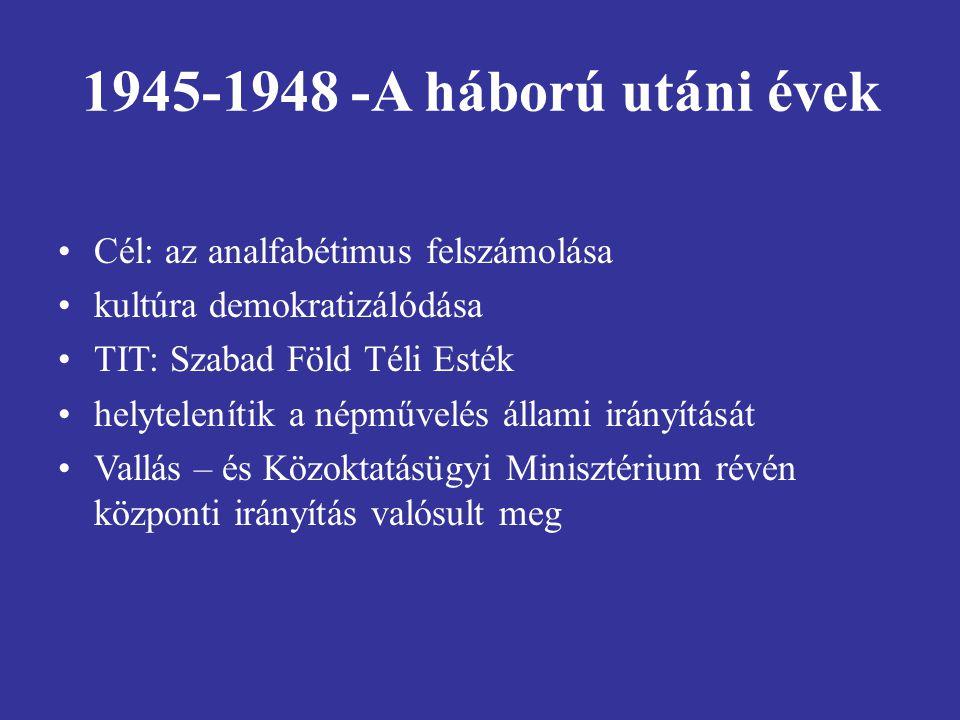 1945-1948 -A háború utáni évek Cél: az analfabétimus felszámolása
