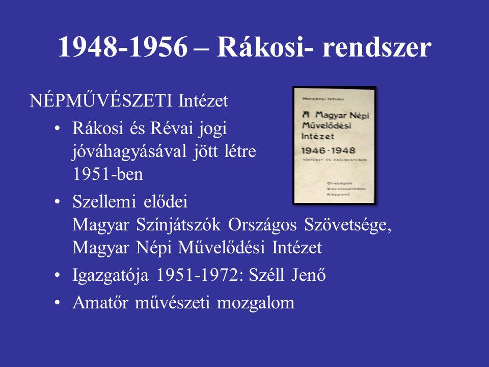 1948-1956 – Rákosi- rendszer NÉPMŰVÉSZETI Intézet