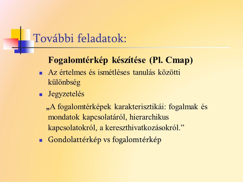 További feladatok: Fogalomtérkép készítése (Pl. Cmap)