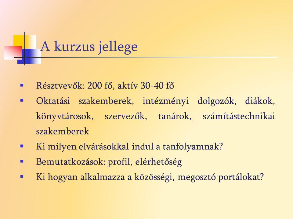 A kurzus jellege Résztvevők: 200 fő, aktív 30-40 fő