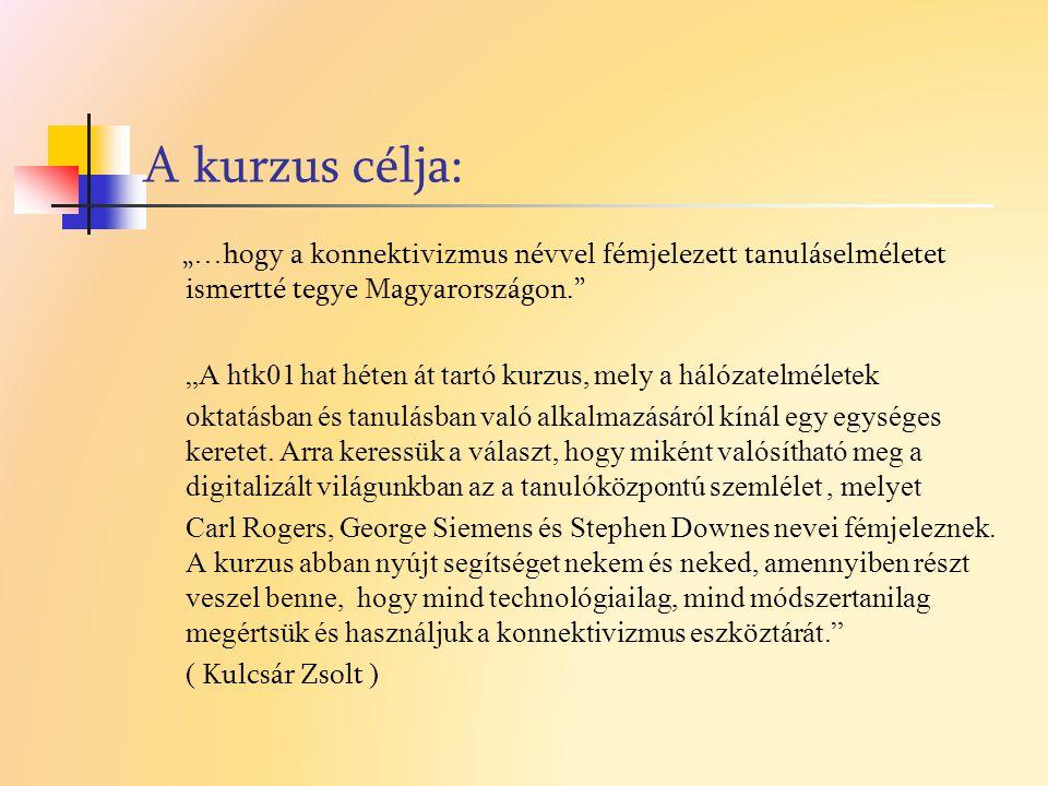 """A kurzus célja: """"…hogy a konnektivizmus névvel fémjelezett tanuláselméletet ismertté tegye Magyarországon."""