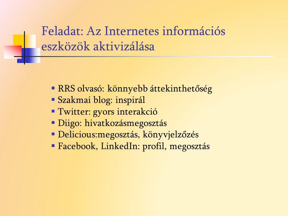 Feladat: Az Internetes információs eszközök aktivizálása