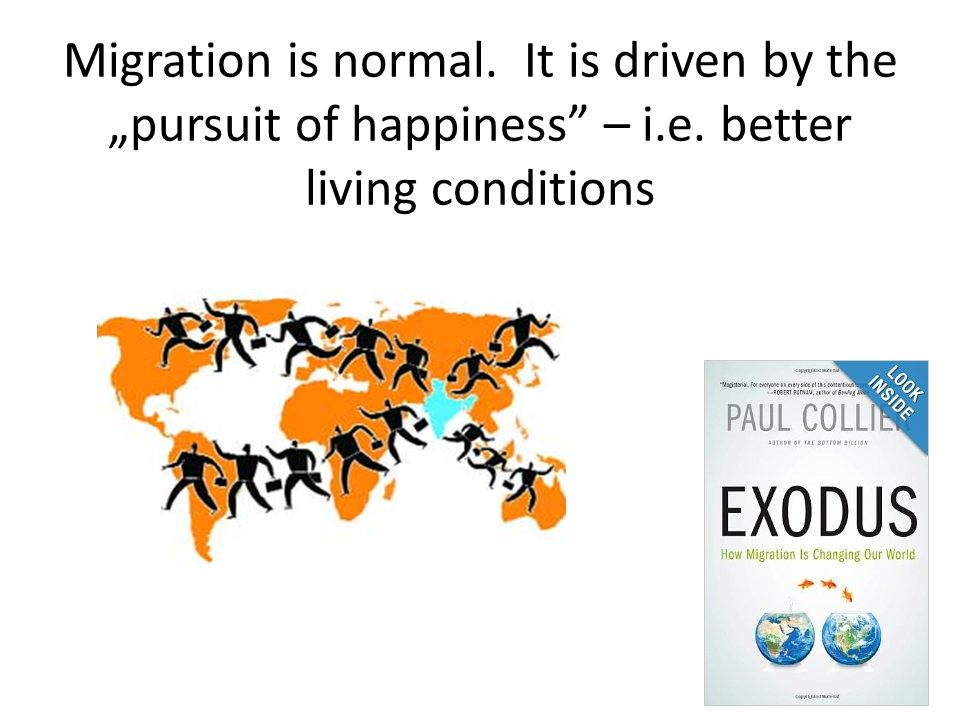 "Migration is normal. It is driven by the ""pursuit of happiness – i. e"