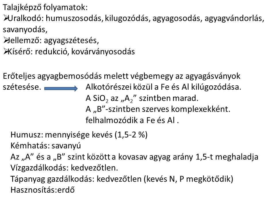 Talajképző folyamatok: