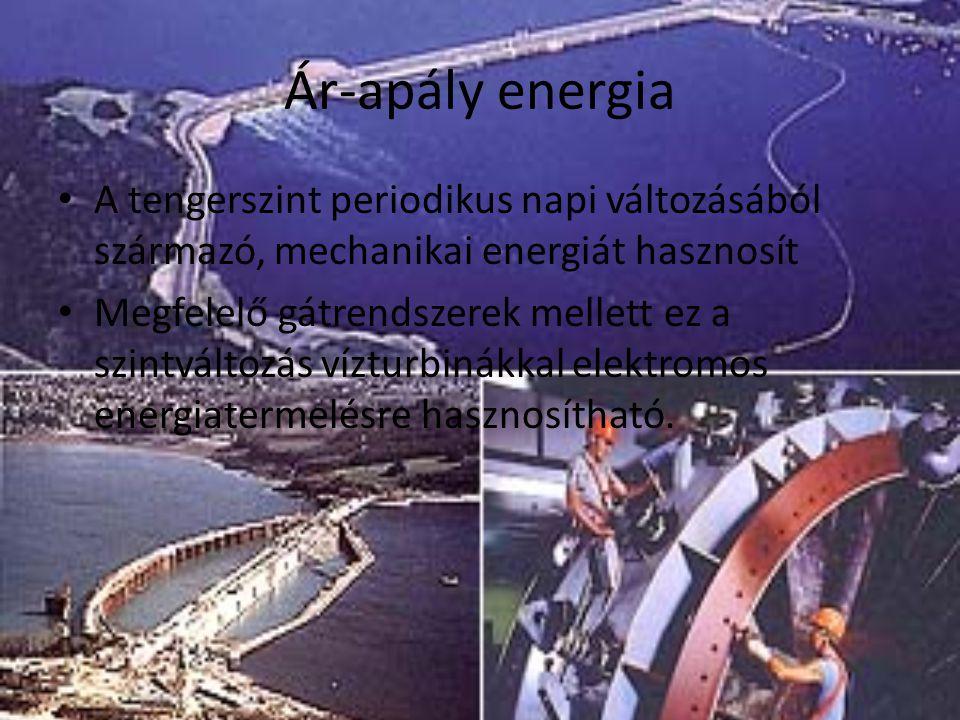 Ár-apály energia A tengerszint periodikus napi változásából származó, mechanikai energiát hasznosít.