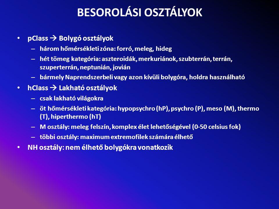 BESOROLÁSI OSZTÁLYOK pClass  Bolygó osztályok