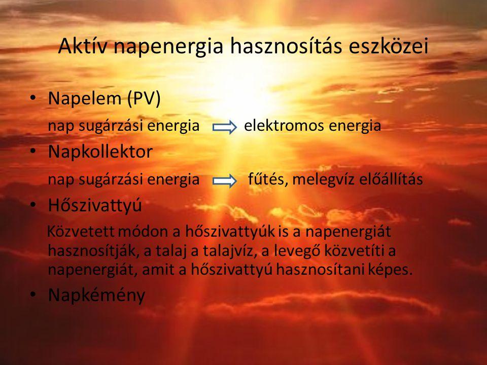 Aktív napenergia hasznosítás eszközei