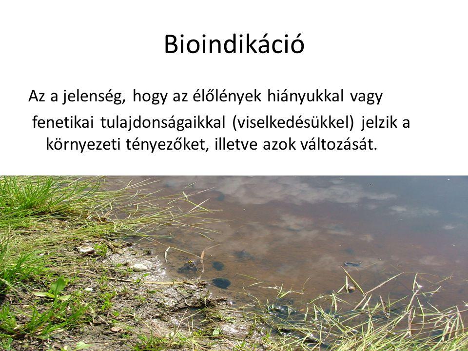 Bioindikáció Az a jelenség, hogy az élőlények hiányukkal vagy