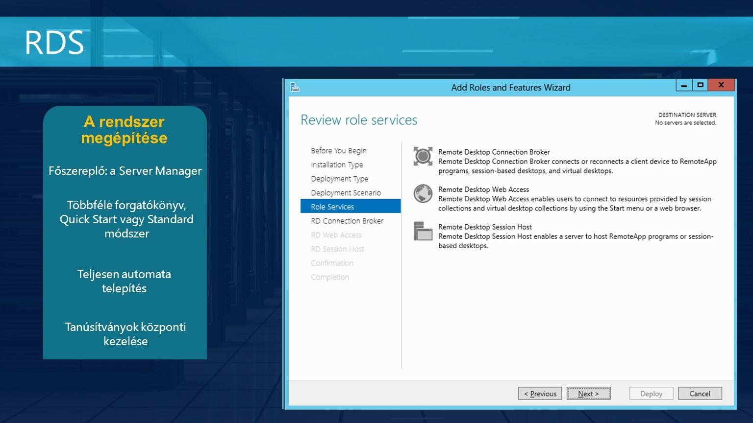 RDS A rendszer megépítése Főszereplő: a Server Manager