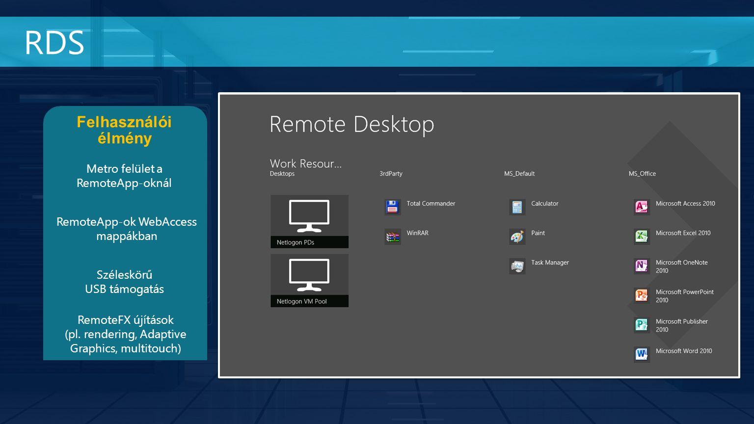 RDS Felhasználói élmény Metro felület a RemoteApp-oknál